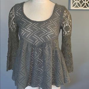 Fee people green lace top XS